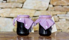 Homemade blueberries   jam in glass jars. Stock Image