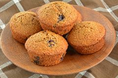 Homemade blueberry bran muffins Royalty Free Stock Images