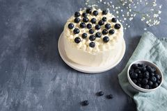 Homemade blueberry cake with cream cheese and fresh berrries on dark background. Copy space royalty free stock photo