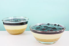 The homemade blueberry cheese cake in the small glass bowl Stock Photo