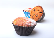 Homemade Blueberry and chocolate muffins with powdered sugar and fresh berries. Stock Photos
