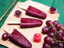 Homemade blueberry and grape  ice cream Stock Photo