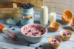 Homemade blueberry ice cream with yogurt Royalty Free Stock Image
