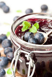 Homemade   blueberry jam in a jar and fresh blueberries isolated Stock Images
