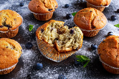 Homemade Blueberry Muffins with powdered sugar, fresh berries. Stock Photo