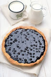 Homemade blueberry pie and milk Royalty Free Stock Images