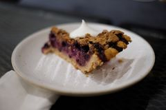 Homemade Blueberry pie on a plate stock image