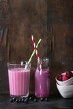 Homemade blueberry and raspberry smoothie Royalty Free Stock Images