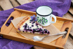 Homemade blueberry tart pie and milk Stock Image