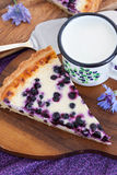 Homemade blueberry tart pie and milk Stock Photo