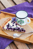 Homemade blueberry tart pie and milk Royalty Free Stock Photography