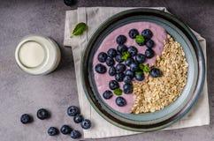 Homemade blueberry yogurt. With oatmeal and milk Stock Photos