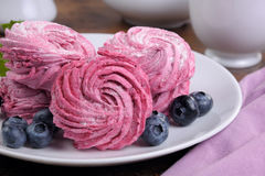 Homemade blueberry zephyr. Homemade  berry  marshmallow (Zephyr) on a plate closeup Royalty Free Stock Photo