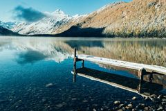 Homemade boat pier on the shore. Of a mountain lake royalty free stock photos
