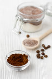Homemade body peeling cocoa-sugar on wooden background close up Royalty Free Stock Image