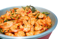 Homemade boil shrimp with herb and chilli. In the large bowl on white background royalty free stock photo