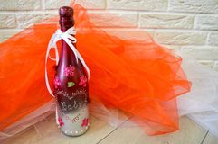 A homemade bottle of champagne decorated stock image