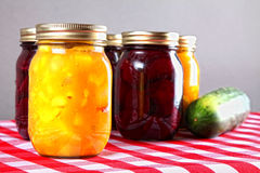 Homemade Bottled Preserves Royalty Free Stock Photography