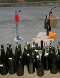 Homemade bottling red wine in glass bottles Royalty Free Stock Photography