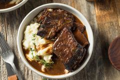 Homemade Braised Beef Short Ribs stock photo
