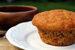 Homemade bran muffin. Outdoor on a white plate Stock Images