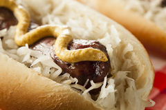 Homemade Bratwurst with Sauerkraut Royalty Free Stock Photography