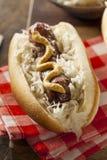 Homemade Bratwurst with Sauerkraut Stock Photography