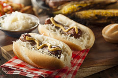 Homemade Bratwurst with Sauerkraut Royalty Free Stock Photos