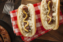 Homemade Bratwurst with Sauerkraut Stock Photos