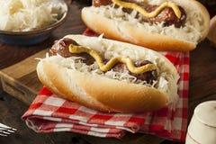 Homemade Bratwurst with Sauerkraut. And Mustard Stock Photography