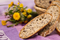 Homemade bread. Abstract image of a homemade bread, baked with ecological and natural ingredients royalty free stock photography