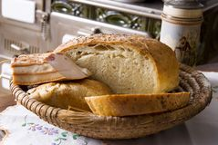 Homemade bread and bacon Royalty Free Stock Images