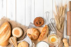 Homemade bread or bakery with bakery equipment Stock Photography
