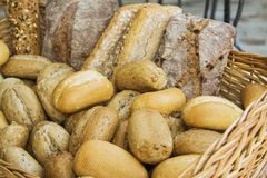 Homemade bread in basket Royalty Free Stock Photo