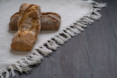Homemade Bread. On black table under the natural sun light stock image