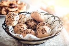 Homemade bread for breakfast. Fresh homemade bread morning table back light Royalty Free Stock Images