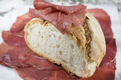Homemade bread with bresaola Royalty Free Stock Images