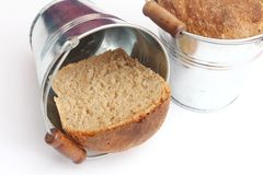 Homemade bread in a bucket Royalty Free Stock Photography