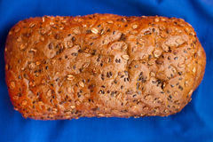 Homemade bread with cereals on a blue background. For sample texte on it Stock Images