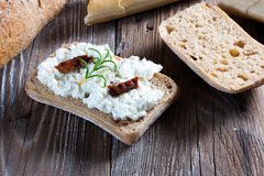 Homemade bread with cottage cheese. Homemade bread with cottage cheese on the boards Stock Image