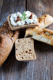 Homemade bread with cottage cheese. Homemade bread with cottage cheese on the boards Royalty Free Stock Images