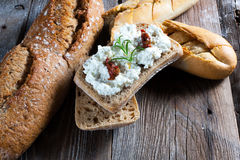 Homemade bread with cottage cheese. Homemade bread with cottage cheese on the boards Royalty Free Stock Photography