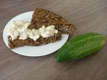 Homemade bread with cottage cheese spread Stock Photo