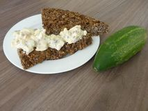 Homemade bread with cottage cheese spread Royalty Free Stock Photos