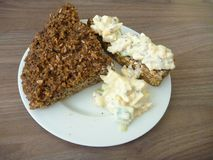 Homemade bread with cottage cheese spread Royalty Free Stock Image