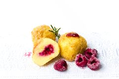 Homemade bread crumb dumplings with raspberry isolated Stock Photo