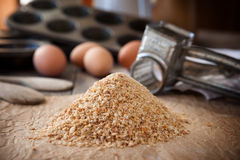 Homemade bread crumbs. Homemade whole wheat bread crumbs Stock Image