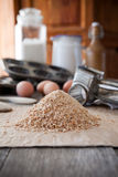 Homemade bread crumbs. Homemade whole wheat bread crumbs Stock Images