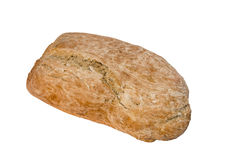 Homemade bread. Delicious, beautiful loaf of homemade bread on a white background Royalty Free Stock Images