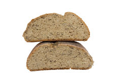 Homemade bread. Delicious, beautiful loaf of homemade bread on a white background royalty free stock photo